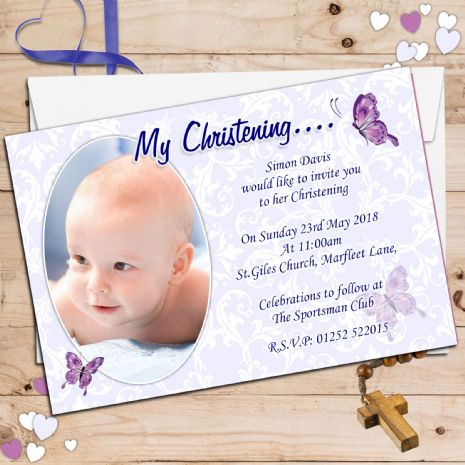 10 Personalised Christening Baptism PHOTO Invitations N69